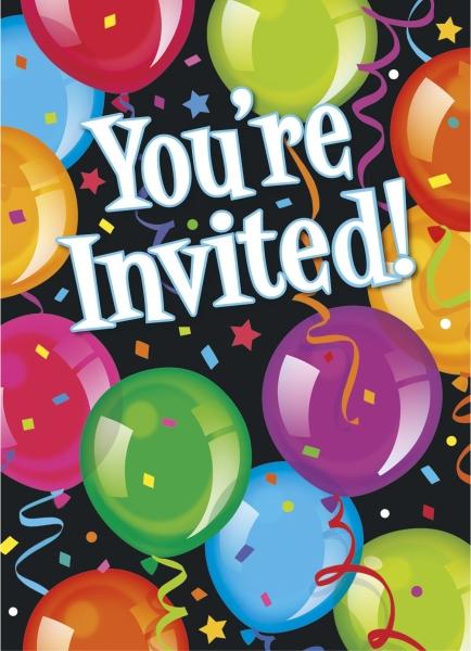 Einladungskarten Bravo Birthday, 8er Pack mit Umschlägen