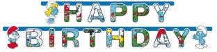 Party-Extra Happy Birthday Girlande Schlümpfe