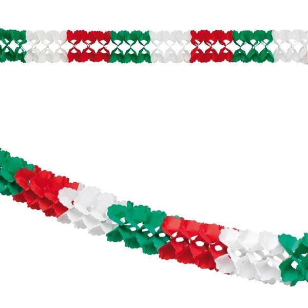 Mini-Girlande rot-weiß-grün, 4 Meter - Mexikoparty Deko