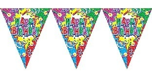 Glitzer-Wimpelkette Happy Birthday, 3,5 m lang