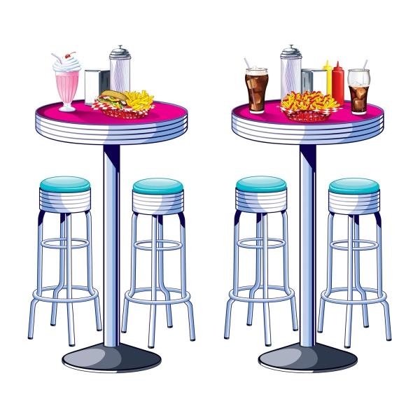Dekofolie American Diner Tische + Barhocker - 50er Jahre Deko