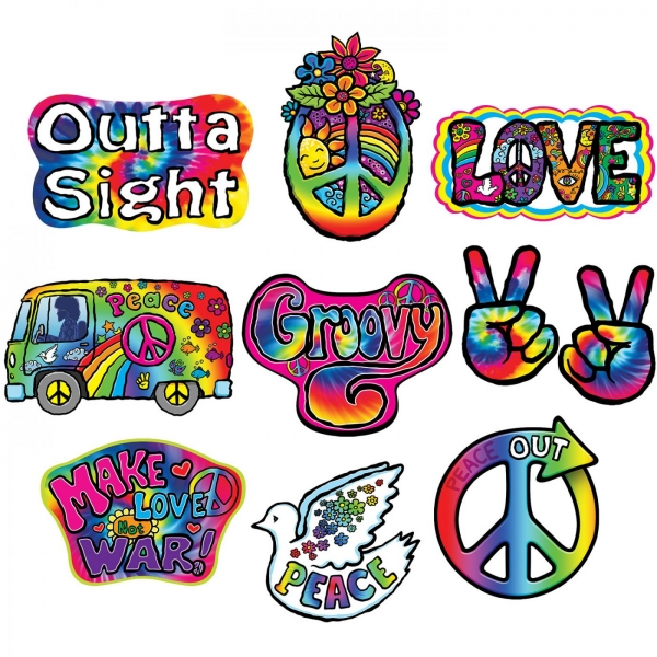 Cutout-Set 60er Jahre Peace, 10-teilig