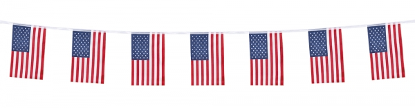 Polyester Flaggenkette Stars + Stripes - Amerika Party Deko