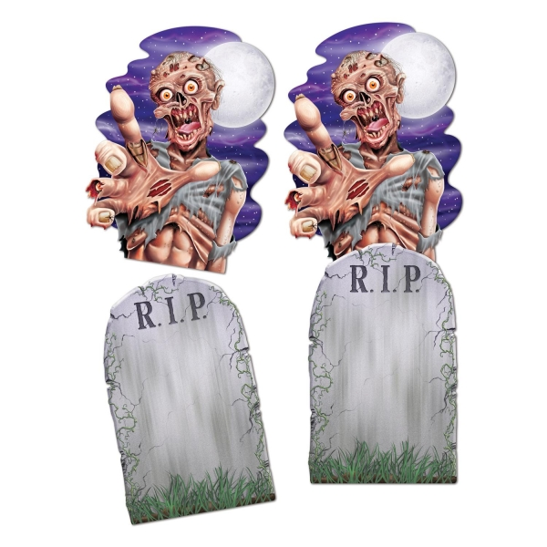 Jumbo Cutouts Zombie + Grabstein - Halloween Friedhofsdeko