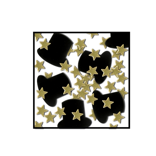 Tischkonfetti Zylinder + Goldsterne - Silvesterparty Deko