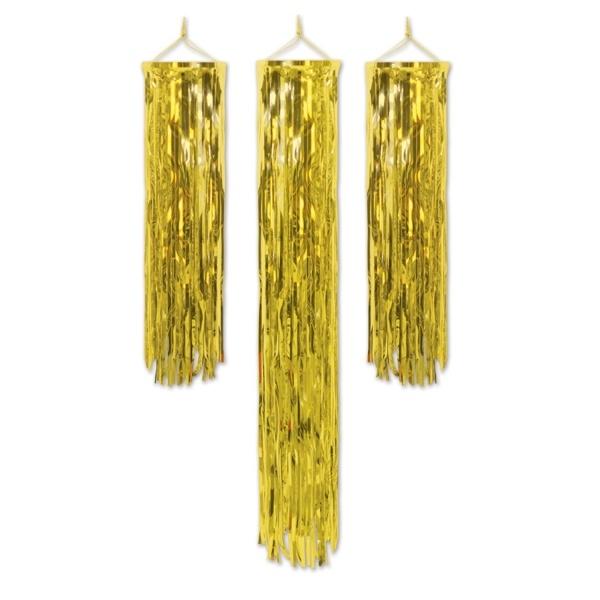 Party-Extra Lametta Dekosäulen, gold - Goldene Glamour Deko