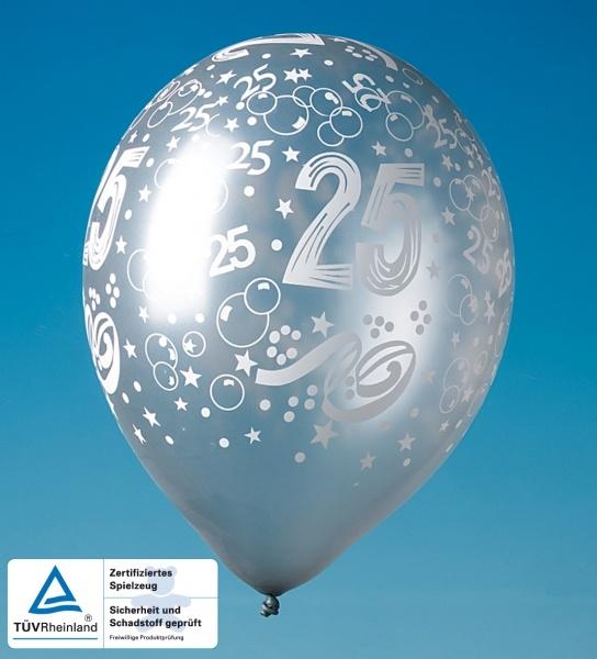 Luftballons Silberne Hochzeit, 5er Pack.