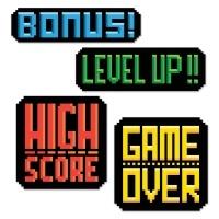Cutout Set 80er Jahre 8-bit Videospiel, 4-teilig