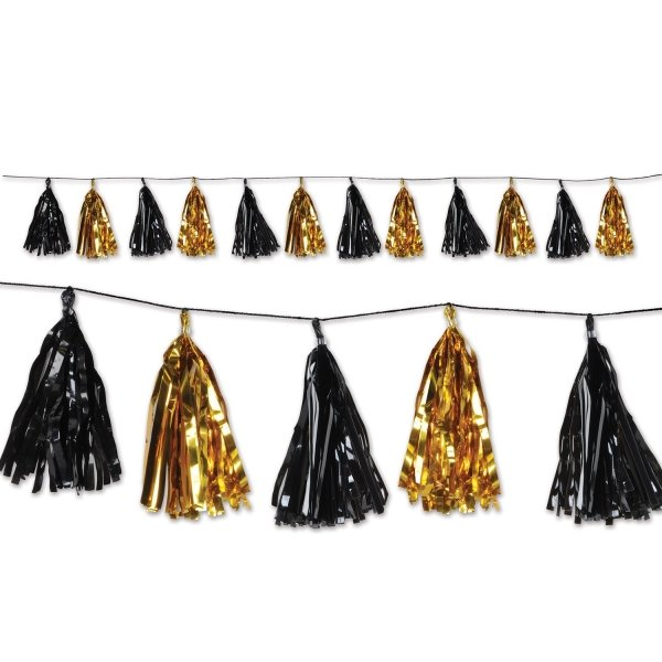 Party-Extra Quastengirlande schwarz-gold