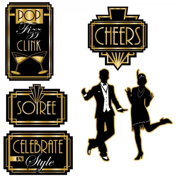 Cutout Set Goldene 20er Jahre - Art Deco Partydeko