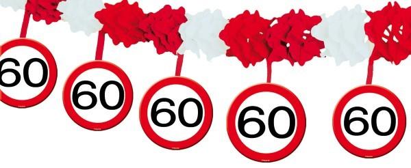 Papier-Girlande Verkehrsschild 60 . Geburtstagsdeko