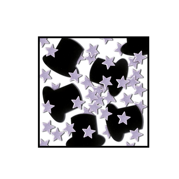 Tischkonfetti Zylinder + Silbersterne - Silvesterdeko