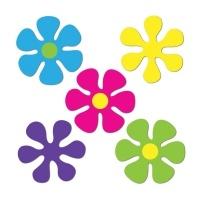 Party-Extra Flower Power Blüten, 10er Pack - 70er Jahre Hippie Deko