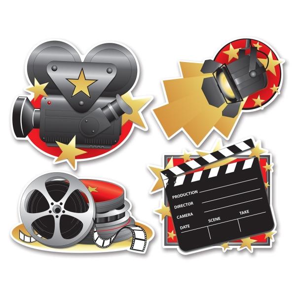 Cutout-Set Film ab! - Hollywood Mottoparty Deko