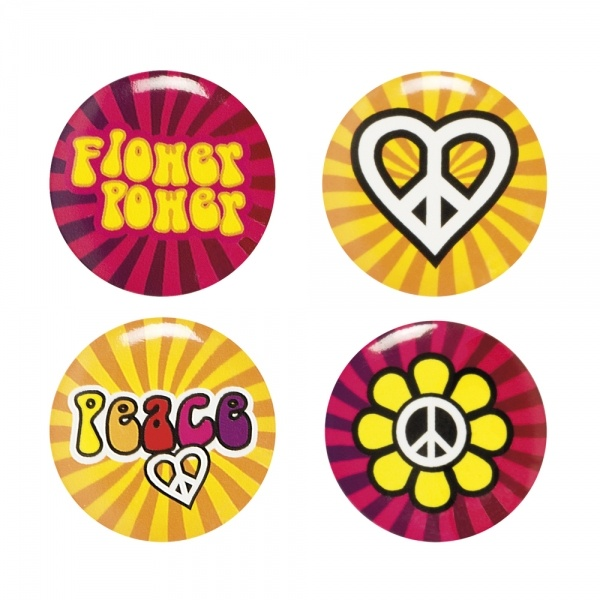 Hippie Revival Buttons, 4er Pack
