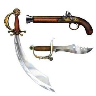 Cutout Set Piraten-Waffen, Piratenparty Deko
