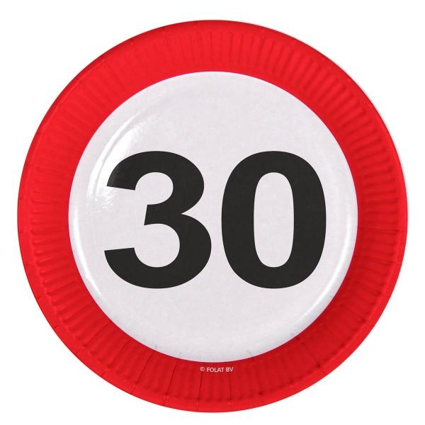 Pappteller Verkehrsschild 30 - Tischdeko für Geburtstagsparty