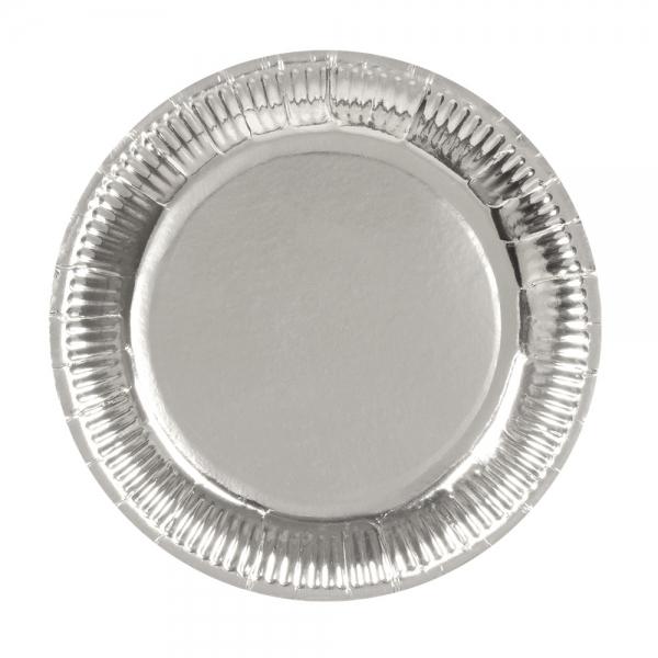 Pappteller Silber - Silberne Glamour Deko