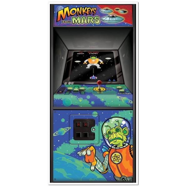 Party-Extra Tür-Dekofolie 80er Jahre Videospiel