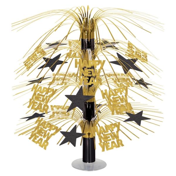 Grosse Tischkaskade Happy New Year gold-schwarz - Silvesterparty Deko
