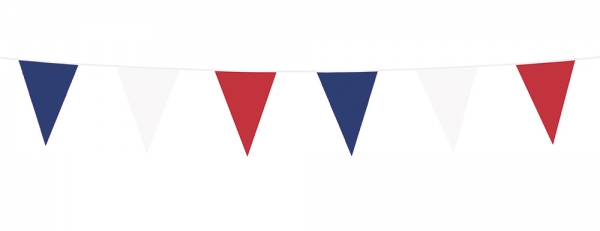 Wimpelkette Tricolore - blau, weiss, rote Deko