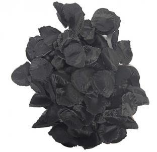 Schwarze Textil-Rosenblätter