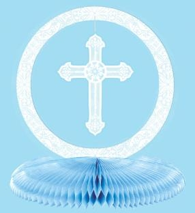 Tischdekoration Christliche Feier, blau - Kirchliche Deko
