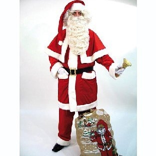 Samt-Weihnachtsmann-Anzug mit Pellerine