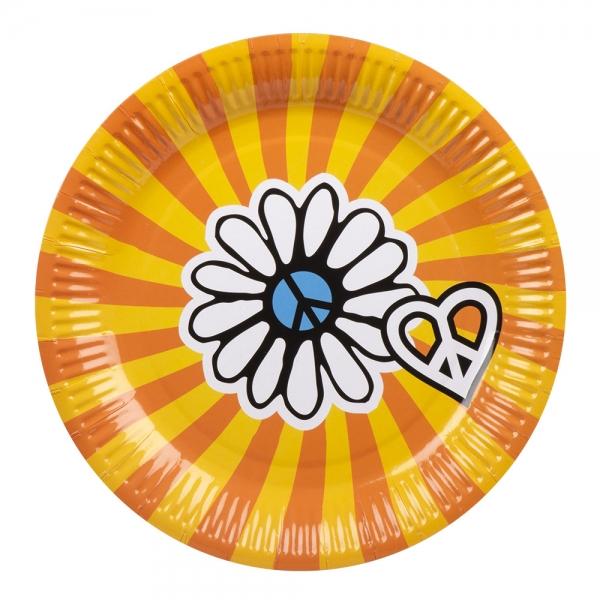 Pappteller Hippie Power - 70er Jahre Hippie Party Tischdeko