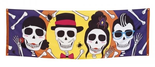 Riesen Stoff-Banner Sugar Skull Mexikoparty - Dia de los Muertos Deko