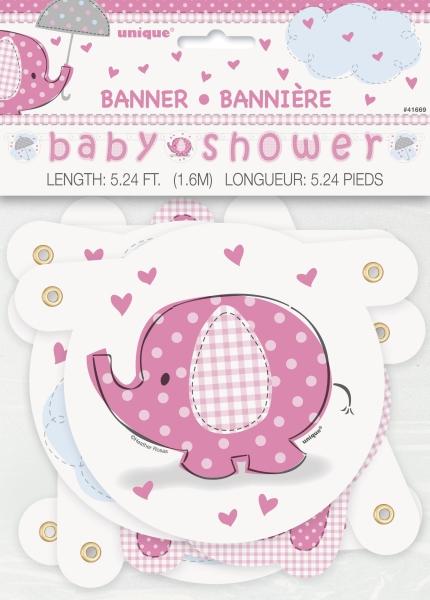 Buchstabengirlande Babyfant, rosa, 1,2m lang.