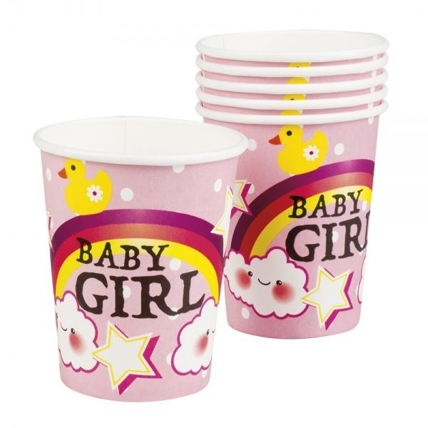 Pappbecher Baby Girl, 6er Pack
