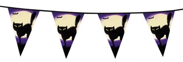 Party-Extra Wimpelkette Schwarze Katze - Halloween Deko