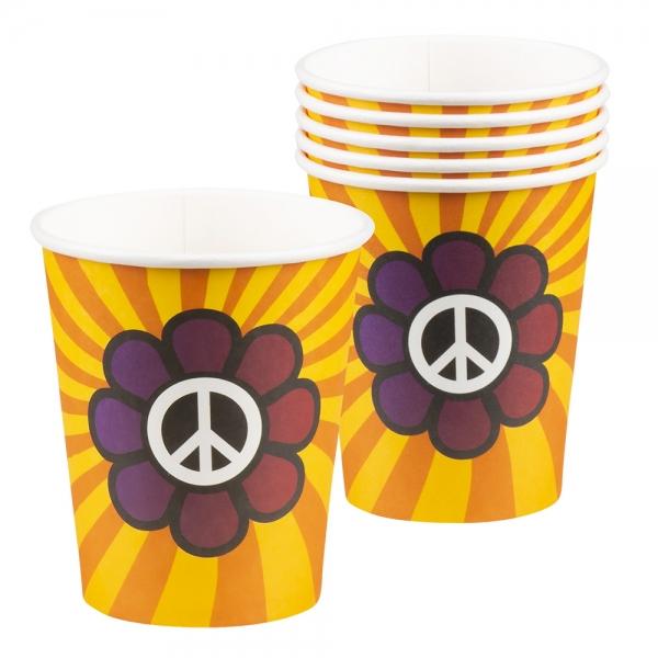 Pappbecher Hippie Power - 70er Jahre Tischdeko