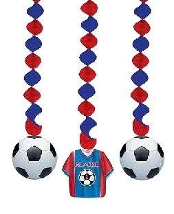 Spiralhänger Fußball, 3er Pack - Fußballparty Deko