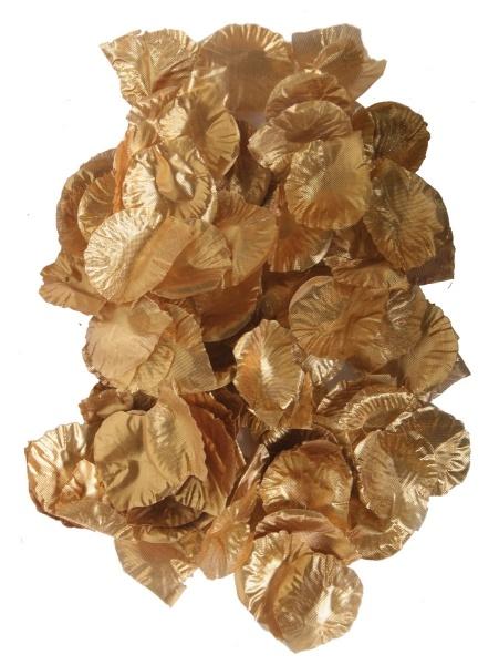 Kleine Textil-Rosenblätter, gold, 144 Bl. pro Pack.