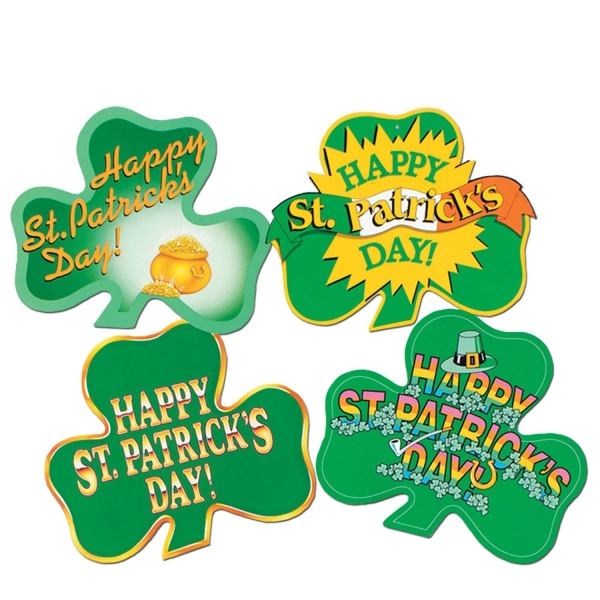 Party-Extra Cutout Set Shamrock, 4er Pack - Irland Deko