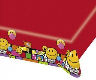 Plastik-Tischdecke Smiley, 120 cm x 180 cm groß