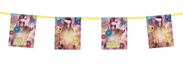Flaggenkette Hippie Revival - 70er Jahre Mottoparty Deko