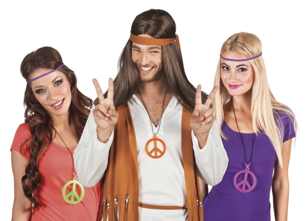 Halskette Hippie Revival mit Peace Symbol in 3 Farben