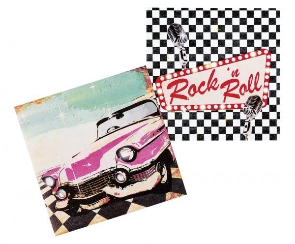 Party-Extra Servietten Rock + Roll Party - 50er Jahre Tischdeko