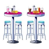 Dekofolie American Diner Tische + Barhocker, 150cm hoch