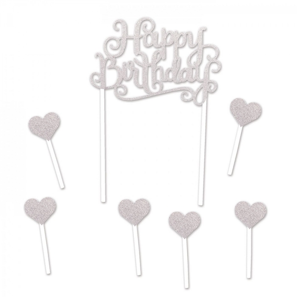 Happy Birthday Tortentopper Silber, 20 cm