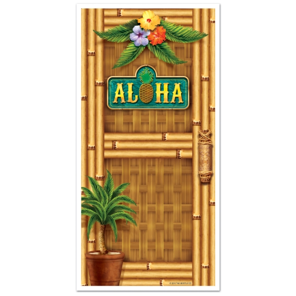 Party-Extra Tür-Dekofolie Aloha .- Beachparty Hawaii Südsee-Deko