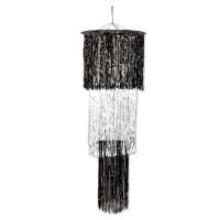 Riesen Lametta-Dekohänger Black + White, 120 cm