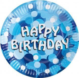 Pappteller Blaue Geburtstagsfeier