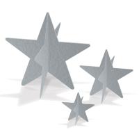 3D-Folienstern Tischdeko Set, 3-teilig, silber