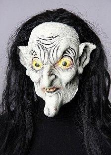 Latexmaske Hexe(r) mit schwarzen Haaren