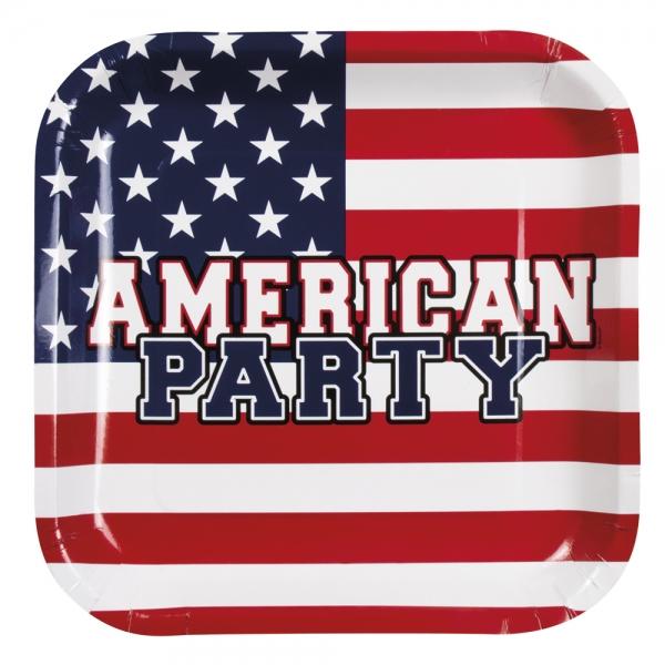 Pappteller USA, quadratisch - Amerika Tischdeko