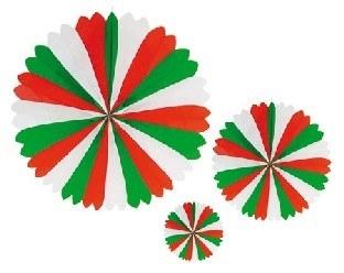 Dekofächer rot-weiß-grün - Mexikoparty Deko